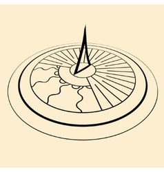 Sundial perspective silhouette vector