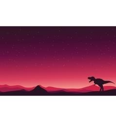 Tyranosaurus-rex on hills landscape vector