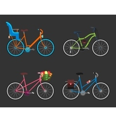 Vintage design four bicycle set Retro old style vector image