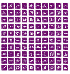 100 sea life icons set grunge purple vector