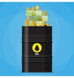 Stack of dollars and coins on oil barrel vector