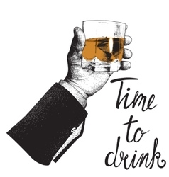 Male hand holding a glass of whiskey vector