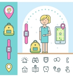 Smart Watch and Tracker for Children Infographics vector image