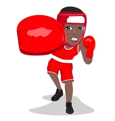 Young african american boxer punching to front vector