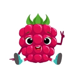 Big eyed cute girly raspberry character sitting vector