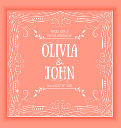 Floral and geometric monogram frame on red vector