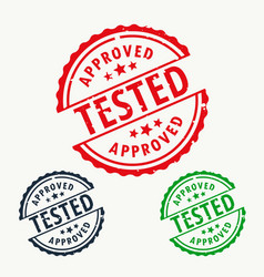 Approved and tested stamp set vector