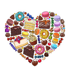 Heart made of various desserts candies pastries vector