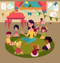 Kindergarten kids listen to teacher reading a book vector