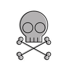 Skull danger sign icon vector