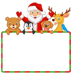 Cartoon santa and friend with blank sign vector