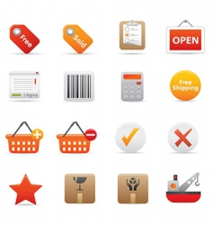 Shopping icons  red vector