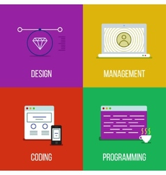Infographic icon set of design management coding vector