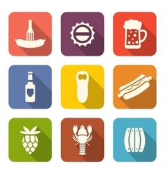 Group minimal colorful icons of beers and snacks vector