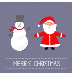 Cartoon snowman and santa claus violet background vector