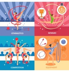 Art gymnastics 2x2 design concept vector