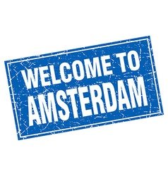 Amsterdam blue square grunge welcome to stamp vector