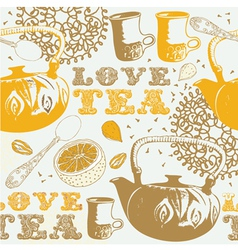 Love Tea Background Pattern vector image