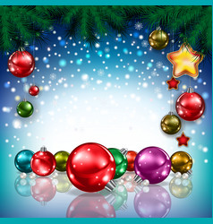 Abstract christmas blue greeting with color vector