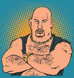 avatar portrait bald biker vector image vector image