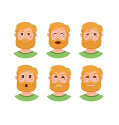 beard men facial expression vector image vector image