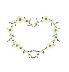 Beautiful green daisy flowers in heart shape vector