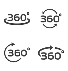 Black 360 degrees icons set vector