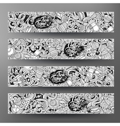 Cartoon line art doodles cafe banners vector