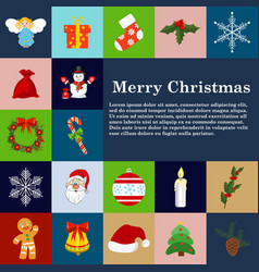christmas icons flat style winter decoration vector image vector image