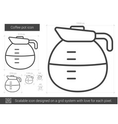 Coffee pot line icon vector