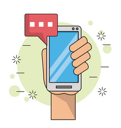 Color background with left hand holding smartphone vector