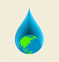 Earth day paper cut water drop concept art vector