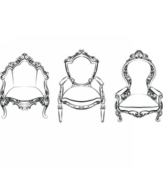 Elegant armchair set with ornaments vector
