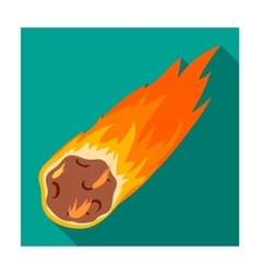 Flame meteorite icon in flat style isolated on vector image