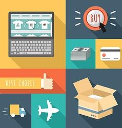 Flat design icons of e-commerce internet sh vector image