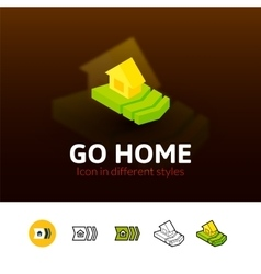 Go home icon in different style vector