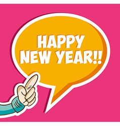 Happy new year sticker bubble vector image