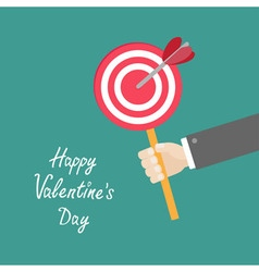 Happy Valentines Day Love card Businessman hand vector image vector image