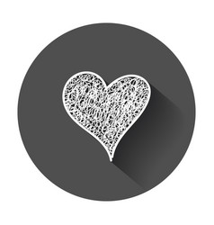 Hearts icon love hand drawn with long shadow vector
