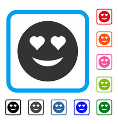 Love smiley framed icon vector