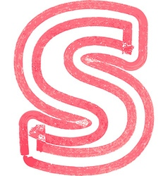 lowercase letter s drawing with Red Marker vector image vector image