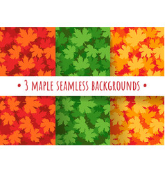 Maple leaves seamless patterns vector