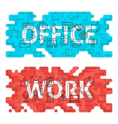 Office Work Outline Flat Concept vector image vector image