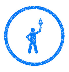 Person with freedom torch rounded grainy icon vector