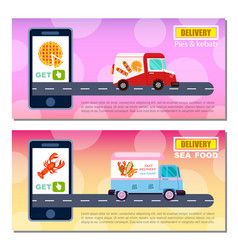 Pies kebab and seafood delivery flyers vector