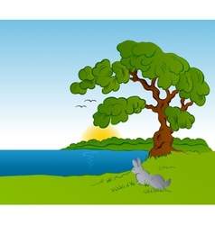 Rabbit in the forest background vector image vector image