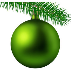 realistic lime matte christmas ball or bauble with vector image
