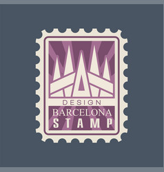 Rectangular postage stamp of barcelona city with vector