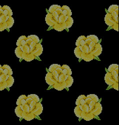 seamless pattern with cross stitch yellow roses vector image vector image