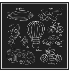 Sketches means of transport vector image